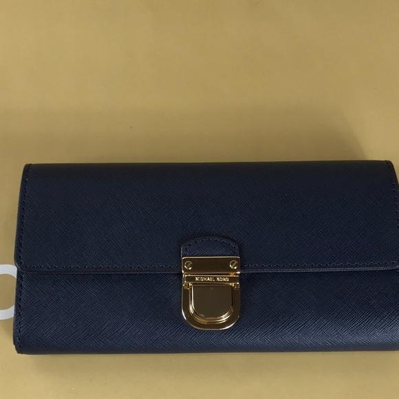 9d66a863065709 Michael Kors Bags | Bridgette Navy Flap Wallet | Poshmark